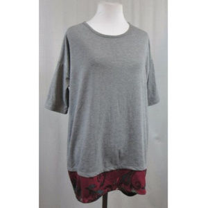 LuLaRoe Gray Burgundy Hi Lo Tunic Top XXS 2XS